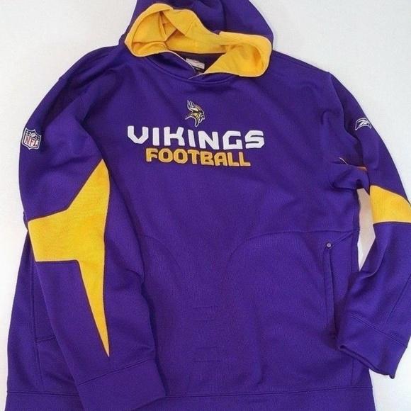 hot sale online 6c6a9 836fb Reebok Minnesota Vikings Hoodie Sweatshirt Sz XXL